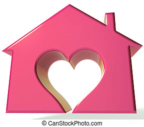 Pinky House Heart 3D image background
