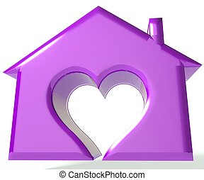 Purple House Heart 3D image