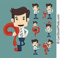Set of businessman characters poses with question marks ,...