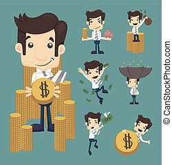 Set of businessman make money characters poses , eps10...
