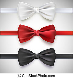 Realistic white, black and red bow tie, illustration,...