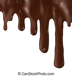 Chocolate dripping - Flowing chocolate dripping, isolated on...