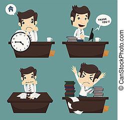Set of businessman sitting on desk , office worker