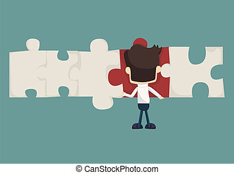 Set of businessman holding up jigsaw puzzle pieces as a...