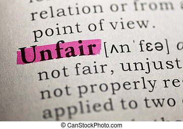 unfair - Dictionary definition of the word unfair.
