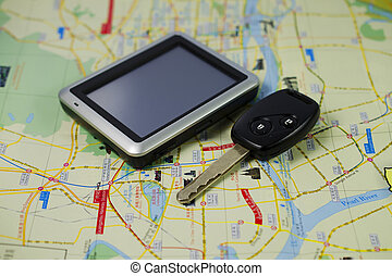 Key car and GPS on MAP for travel background