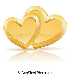 Two Gold Hearts - Valentines Day Concept with Two Gold...