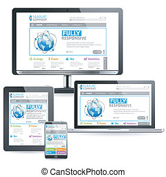 Responsive Web Design Concept on various devices, vector...