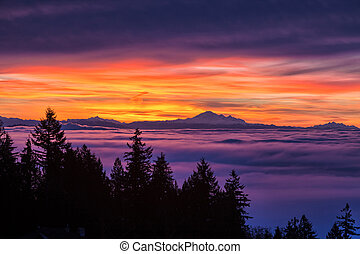 sunrise and cloudy sky - Sunrise, view of Mount Baker from...