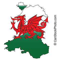 Wales and the Dragon - Outline of Wales with a Welsh Dragon...