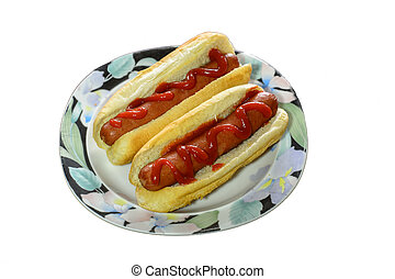 Ketchup Dressed Hotdogs on a Plate