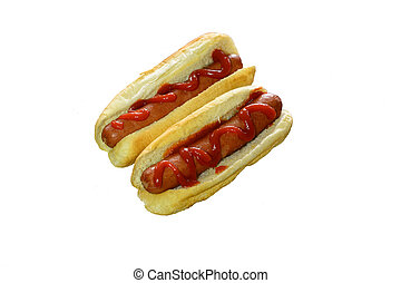 Two Ketchup Dressed Hotdogs