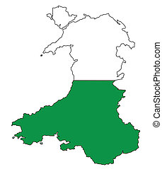 Wales Outline - Outline of Wales with a Welsh Dragon...