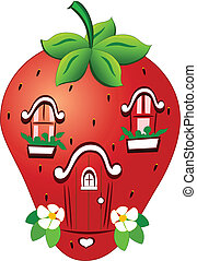 fabulous strawberry house - The illustration shows a...