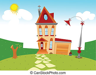tiny cartoon house - Displaying tiny cartoon house and yard...