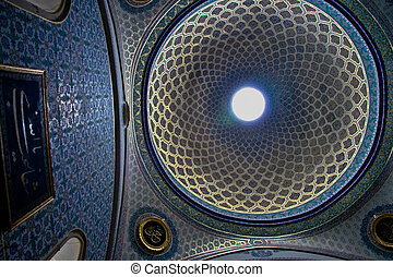 Topkapi Palace inside dome - Arabesque dome ceiling of the...