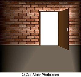 Open door in brick wall