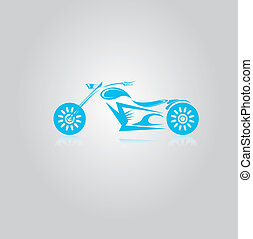 vector blue Silhouette of classic motorcycle - vector...