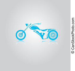 vector blue Silhouette of classic motorcycle.