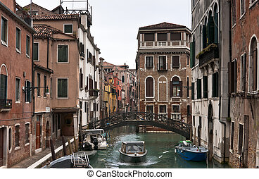 Venice in winter day - Venice Castello block of houses and...
