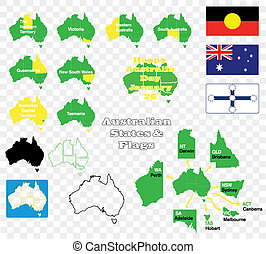 states and flags of Australia - A set of solid and outline...