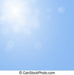Blue sky with the sun shining,sunbeam without clouds - Sun...