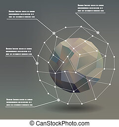 Geometric ball social networks infographics pointers concept...