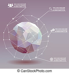 Geometric ball social networks infographics whith icons...