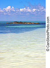 coastline and rock the blue lagoon relax isla contoy mexico...