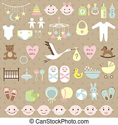Baby shower set - Set of baby shower elements. Vector...