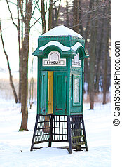 Old Green Phone Booth  - Old green phone booth in Helsinki