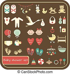 Baby shower set - Set of baby shower elements Vector...