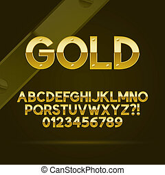 Gold Font and Numbers, Eps 10 Vector, Editable for any...