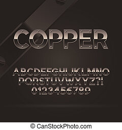 Copper Font and Numbers, Eps 10 Vector, Editable for any...