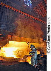steel worker and hot steel