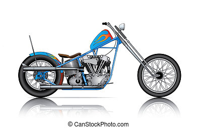 blue custom chopper on white background