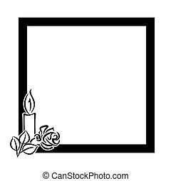 grief - funeral decoration with black frame and candle with...
