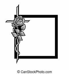 grief - funeral decoration with black frame, cross and rose