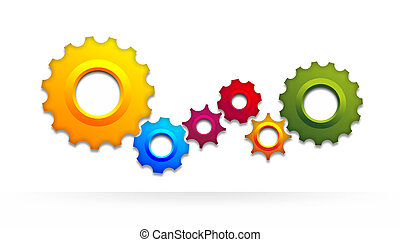 gear wheel - a schematic illustration of colored gear wheels