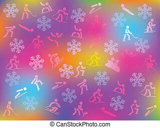 winter sports background - colorful background with...