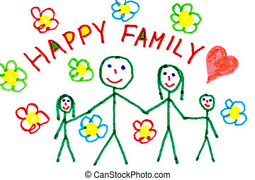 Color drawing of happy family