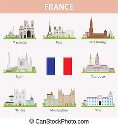 France Symbols of cities Vector set