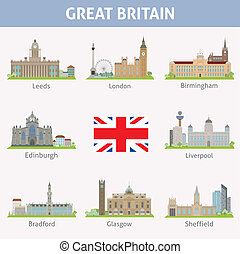 UK. Symbols of cities. Vector set