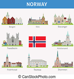 Norway. Symbols of cities