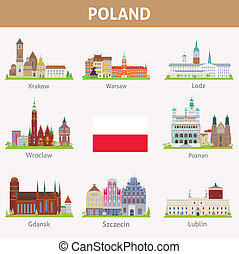 Poland. Symbols of cities. Vector set