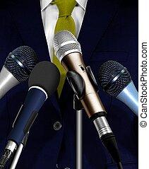 homem, Dar, fala, usando, microfones