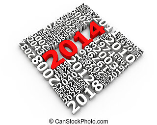 New Year 2014 - New year 2014 over white background