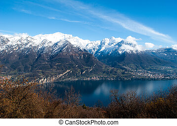 Lake Como - picturesque landscape with the blue water of...