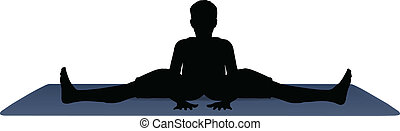 vector illustration of Yoga positions in Wide Angle Bend...