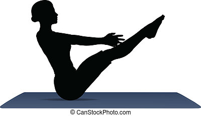 vector illustration of Yoga positions in Full Boat Pose -...